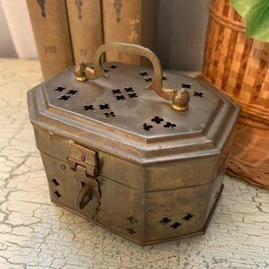 Vintage brass cricket box MCM Boho Bohemian decor